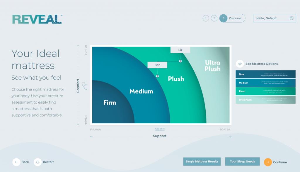 Reveal by XSENSOR Ideal Mattress results screen - single mattress results